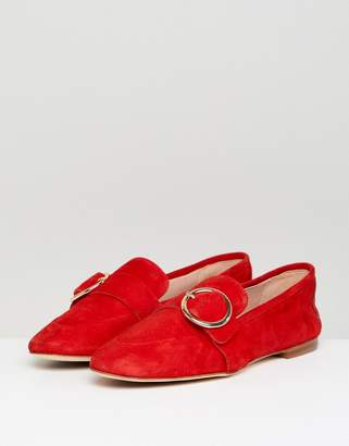 Kurt Geiger London Red Suede Circle Buckle Loafers