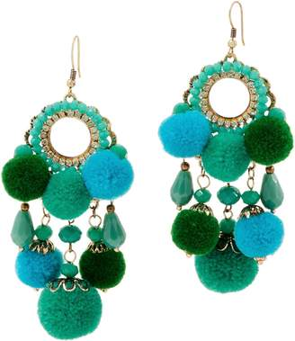 St. Lucia Drop Earrings with Dangle Pom Poms