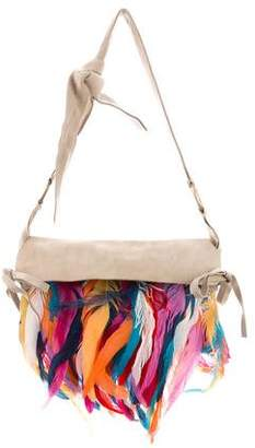 Dolce & Gabbana Feather-Trimmed Suede Bag