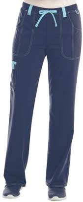 Scrubstar Women's Stretch Twill Color Accent Drawstring Cargo Scrub Pant