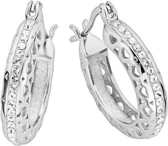 e075dde78 Evoke Sterling Silver Swarovski Crystal Filigree Heart Hoop Creole Earrings
