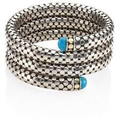 John Hardy Dot Turquoise, 18K Yellow Gold& Sterling Silver Triple Coil Bracelet