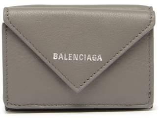 Balenciaga Paper Mini Leather Wallet - Womens - Grey