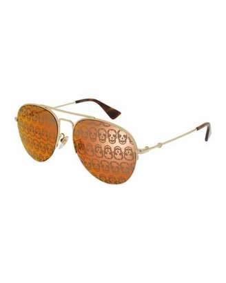 Gucci Metal Skull Aviator Sunglasses, Gold/Orange