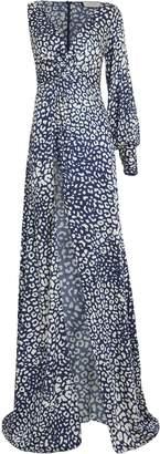 Alexis Kasadee One-Shoulder Cheetah Print Gown