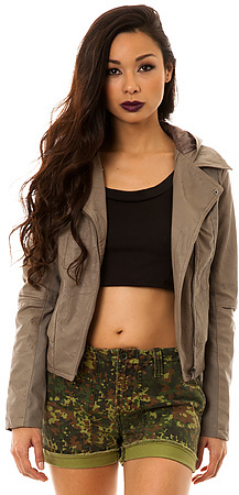 BB Dakota Jack The Pascal Dry Crinkle Canvas Hooded Jacket in Taupe Brown