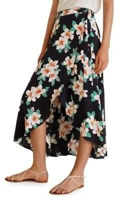 MANGO Floral Wrap Midi Skirt