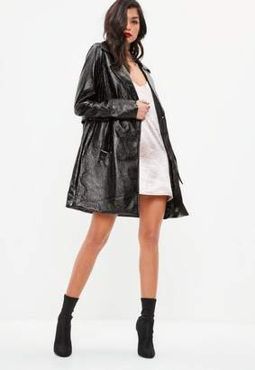 Missguided Black High Shine Trench Coat