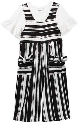 Iris & Ivy Crop Top & Striped Jumpsuit Set (Little Girls)