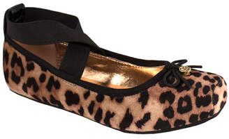 Trimfoot Leopard Velvet Cross Strap Ballet Flat