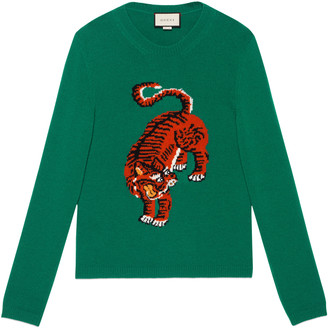 Wool sweater with tiger intarsia $980 thestylecure.com