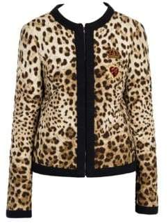 Dolce & Gabbana Leopard Print Quilted Jacket