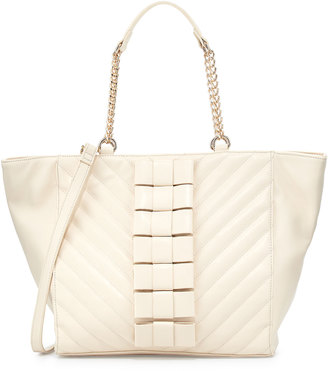 Betsey Johnson Black Tie Affair Quilted Bow Tote Bag, Cream $110 thestylecure.com