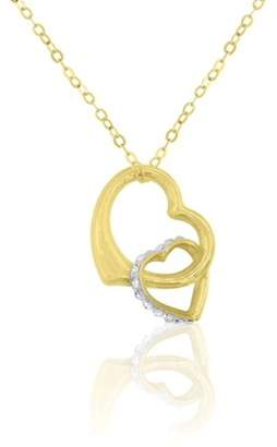 Generic 10K Yellow Gold Crystal Interlink Heart Pendant