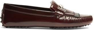 Tod's Gommino T-bar fringed leather loafers