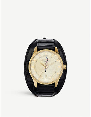 d9ab52a96ef172 Gucci YA126342 G-Timeless alligator-leather and gold-plated watch