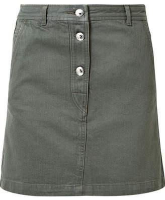 A.P.C. Adele Denim Mini Skirt - Army green