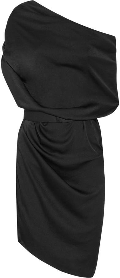 Halston One-shoulder satin dress