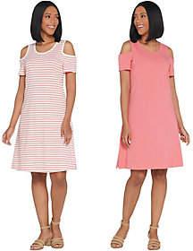 Denim & Co. Set of 2 Stripe & Solid ColdShoulder Dress