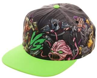 Boy's Teenage Mutant Ninja Turtles Green Flat Bill Hat with Sublimated Crown and Contrast Bill