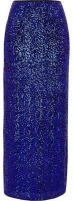 River Island Womens Blue sequin embellished side split maxi skirt