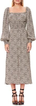 AFRM Miro Leopard Print Long Sleeve Dress