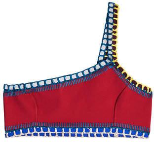 Kiini Soley One-Shoulder Crochet Trimmed Bikini Top