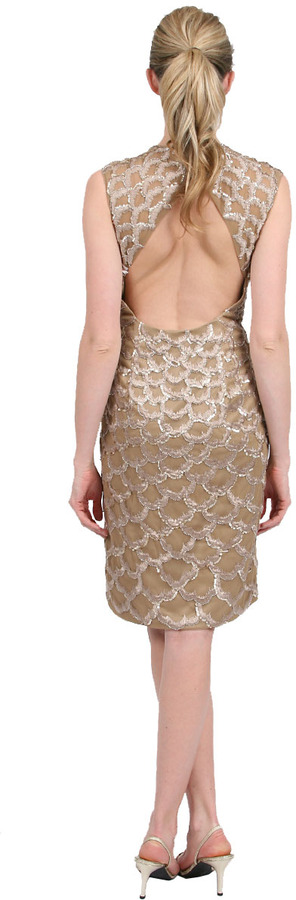 Sue Wong All Over Petal Embroidery Dress in Beige