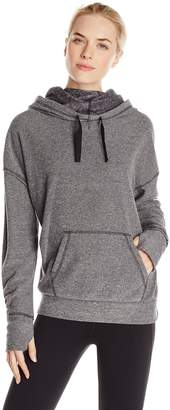 Kensie Performance Women's Speckle Fleece Funnel Neck Sweatshirt