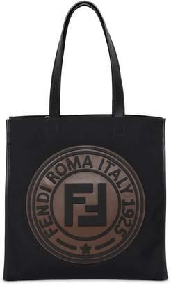Fendi Circle Logo Canvas Tote Bag