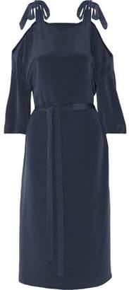 Tibi Belted Cold-Shoulder Silk Midi Dress