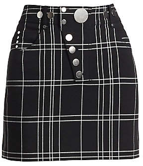 Alexander Wang Women's High-Waisted Plaid Mini Pencil Skirt