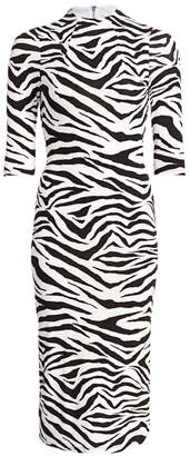 Alice + Olivia Delora Zebra-Print Sheath Dress