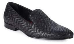 Roberto Cavalli Night Woven Leather Smoking Slippers