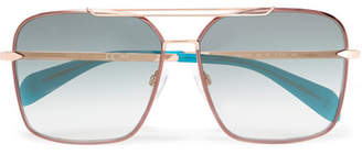 Rag & Bone Square-frame Rose Gold-tone Sunglasses - Blue