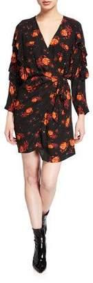 IRO Nucha Floral-Print Ruffle Wrap Dress