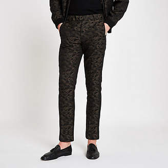 River Island Green camo skinny fit smart pants
