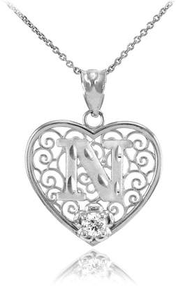 """Initial Pendants 14k White Gold Filigree Heart with CZ Flower Initial Letter N Pendant Necklace, 22"""""""
