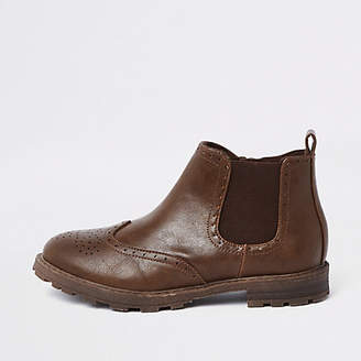 River Island Boys Brown brogue chelsea boots