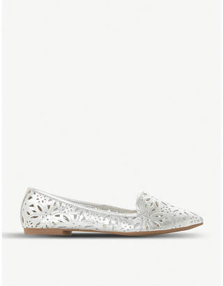 Dune Galatia floral laser-cut metallic leather loafers