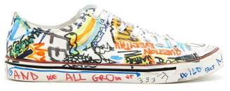 Vetements Graffiti Print Low Top Leather Trainers - Mens - White