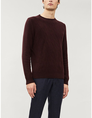 Corneliani Jacquard-panel relaxed-fit cashmere jumper