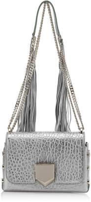 Jimmy Choo LOCKETT PETITE Platnum Metallic Grainy Leather Shoulder Bag with Tassel Shoulder Strap
