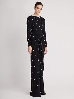 Oscar de la Renta Polka Dot-Embroidered Stretch-Silk Georgette Gown