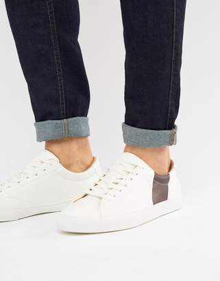 Pull&Bear White Trainer With Burgundy Side Stripe
