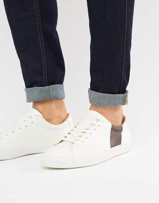 Pull&Bear White Sneaker With Burgundy Side Stripe
