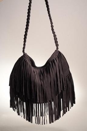 JJ Winters Suede Fringe Bag in Chocolate Brown