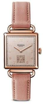 Shinola The Cass PVD Rose Gold& Leather Strap Watch