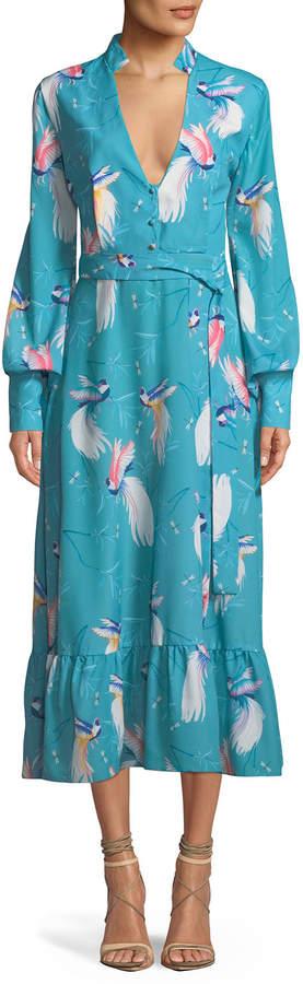 Borgo De Nor V-Neck Long-Sleeve Button-Front Bird-Print A-Line Long Dress