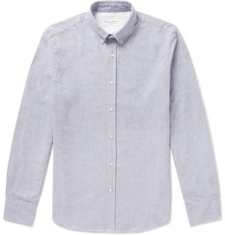 Officine Generale Button-down Collar Brushed-cotton Oxford Shirt - Gray